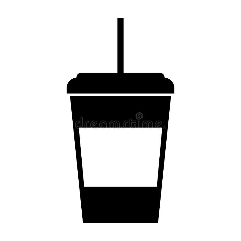 Tazza di caffè eliminabile dell'icona nera illustrazione di stock