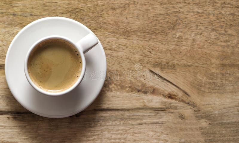 Tazza di caffè Priorità bassa di legno Copi lo spazio Vista superiore immagine stock