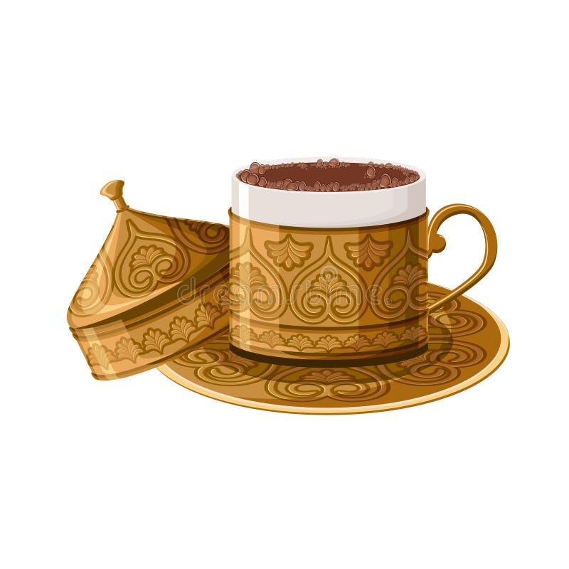 Tazza di caffè di rame decorata tradizionale turca isolata su fondo bianco illustrazione vettoriale