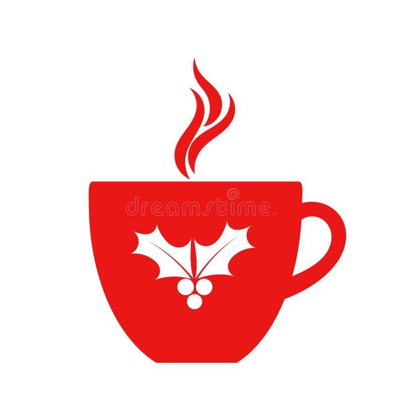 Tazza di caffè rossa di Natale isolata su fondo bianco illustrazione vettoriale