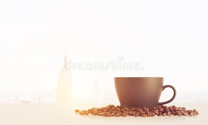 Tazza di caffè soleggiata a New York illustrazione vettoriale