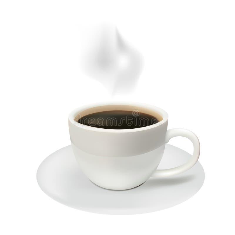 Tazza di caffè su una priorità bassa bianca illustrazione di stock