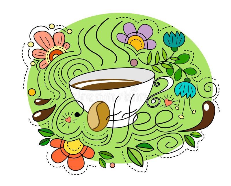 Tazza di caffè in uno stile di scarabocchio con gli elementi e le gocce astratti luminosi di caffè illustrazione di stock