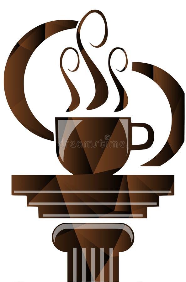 Tazza di caffè variopinta con capitel isolato royalty illustrazione gratis