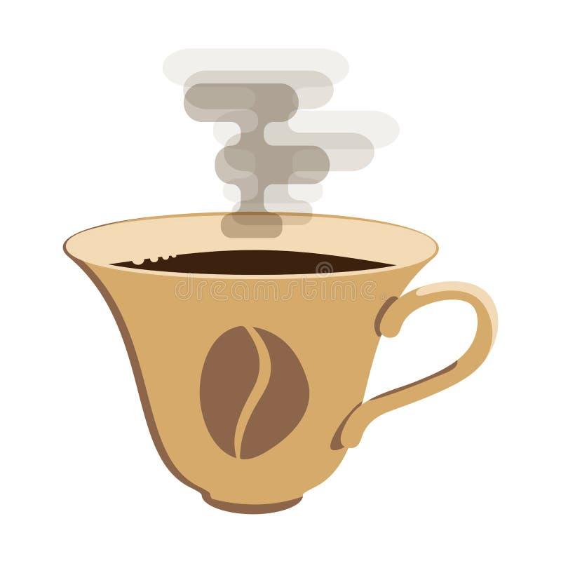 Tazza di caffè di vettore con la maniglia con le ombre sul contesto bianco illustrazione vettoriale