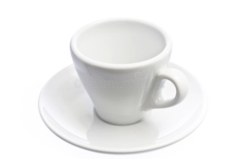 Tazza di caffè vuota del caffè espresso isolata sopra bianco immagine stock libera da diritti