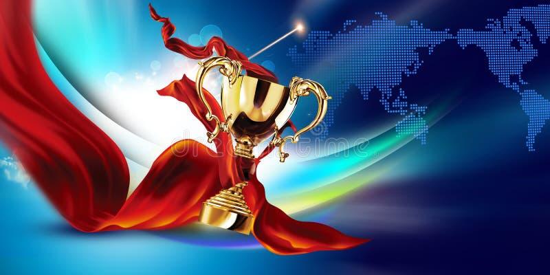 tazza di campione dorata della rappresentazione 3d con fondo blu e tessuto di seta royalty illustrazione gratis
