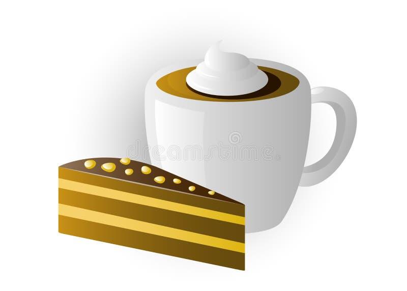 Tazza di cappuccino con le torte illustrazione vettoriale