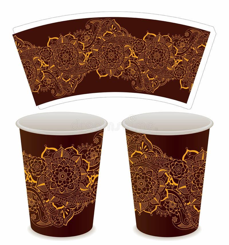 Tazza di carta ornamentale per caffè illustrazione vettoriale