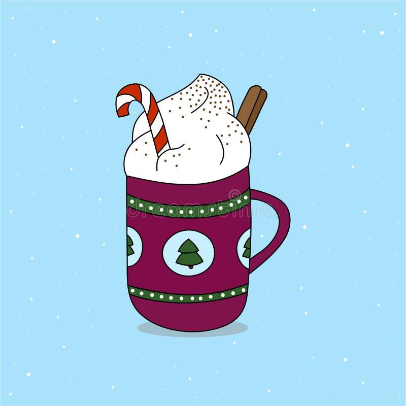 Tazza di cioccolata calda con il bastoncino di zucchero, la panna montata ed il rotolo di cannella royalty illustrazione gratis