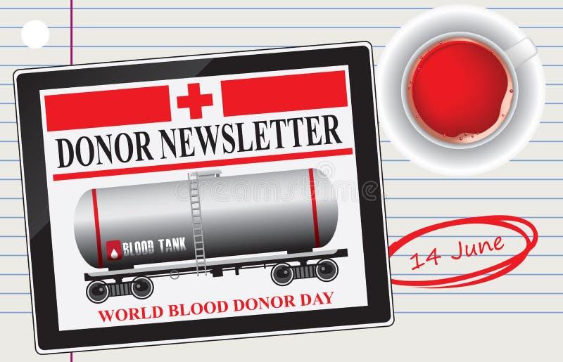 Tazza di giorno del donatore di sangue di sangue illustrazione di stock