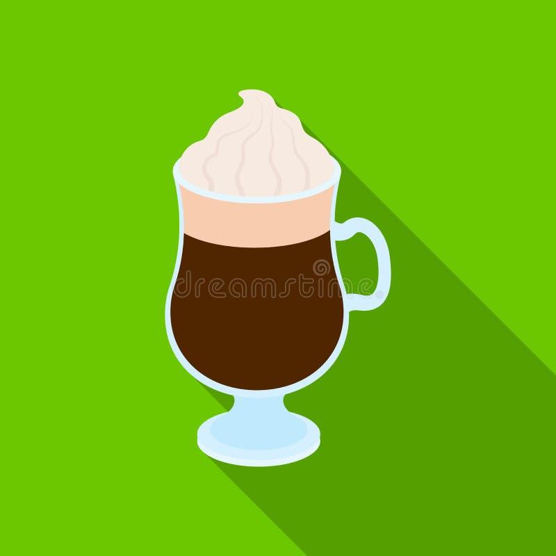 Tazza di irish coffee I tipi differenti di caffè scelgono l'icona nel web piano dell'illustrazione delle azione di simbolo di vet illustrazione vettoriale