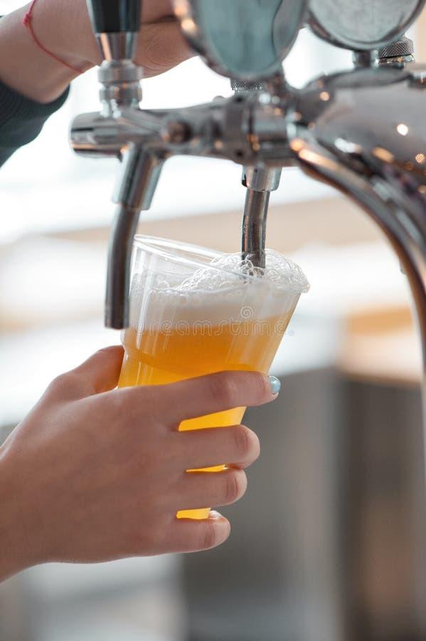 Tazza di plastica di birra che entra dal rubinetto della birra con il primo piano piacevole della schiuma nelle mani femminili de immagini stock libere da diritti
