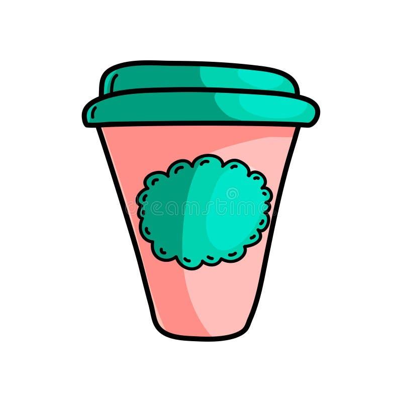 Tazza di plastica del caffè caldo di mattina sulla strada da lavorare illustrazione vettoriale