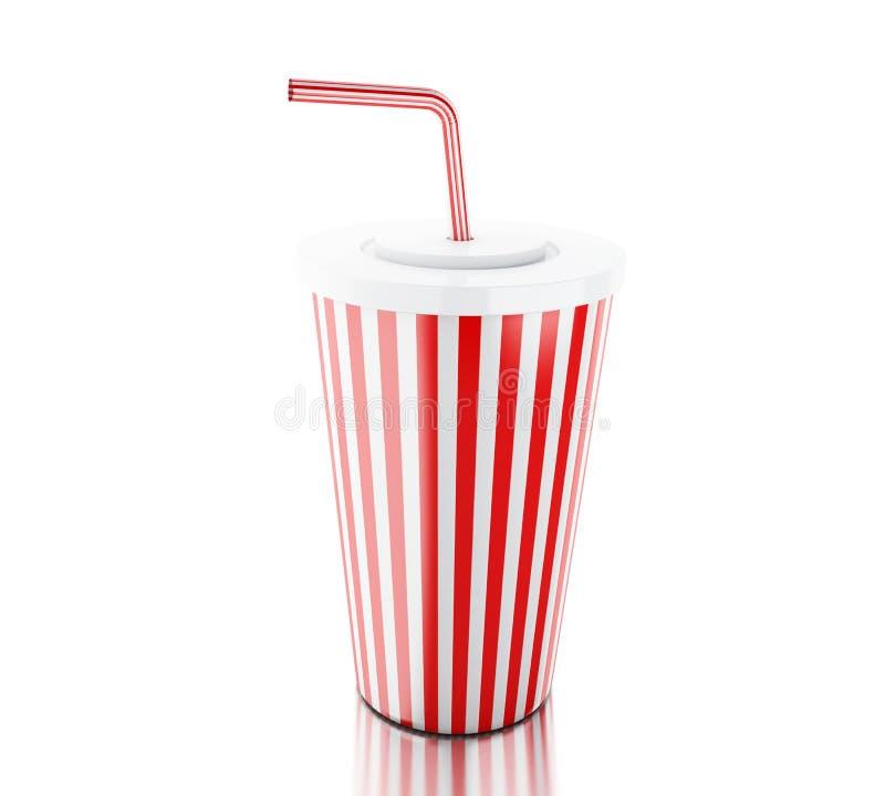 tazza di plastica di pasto rapido 3d illustrazione di stock
