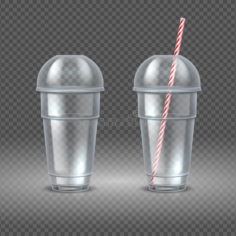 Tazza di plastica realistica Contenitore trasparente del caffè con paglia, il succo dell'acqua ed il modello della tazza del cock illustrazione vettoriale
