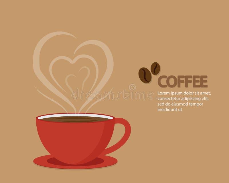 Tazza di rosso del caffè di amore illustrazione vettoriale