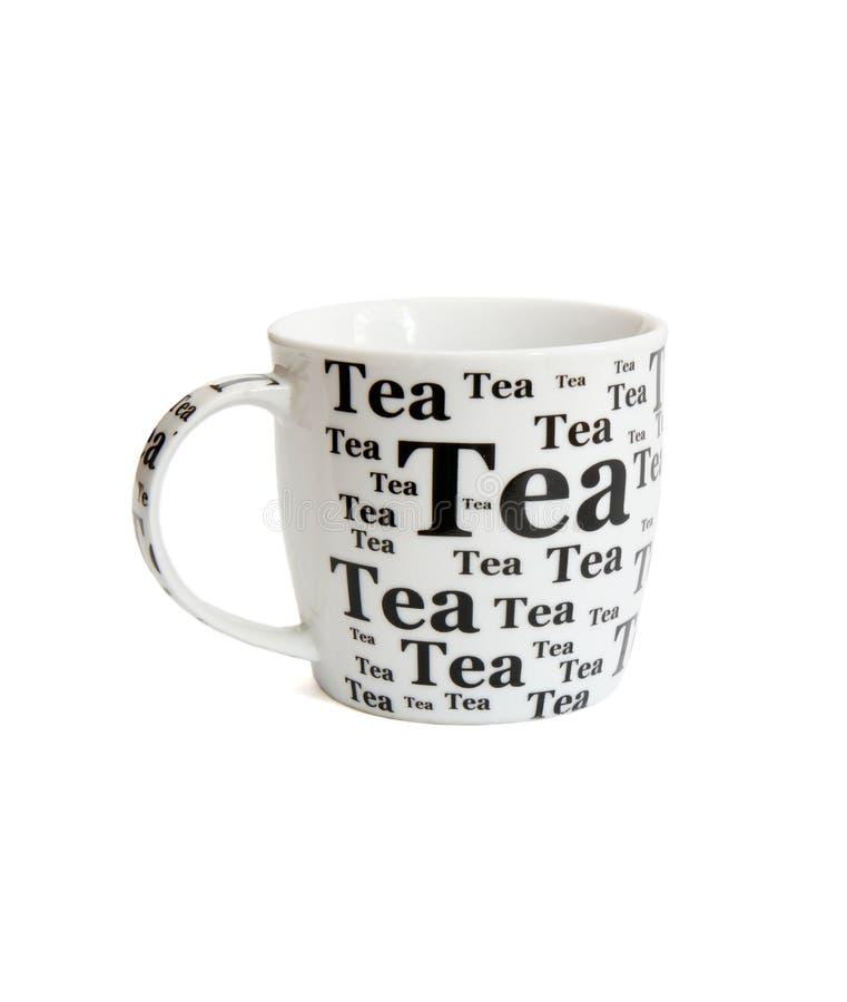 Tazza di tè bianca con le iscrizioni nere immagine stock