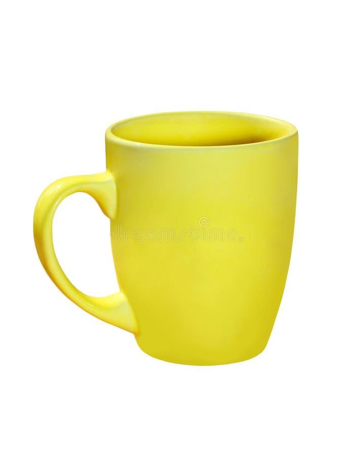 Tazza di tè ceramica gialla Isolato immagini stock libere da diritti