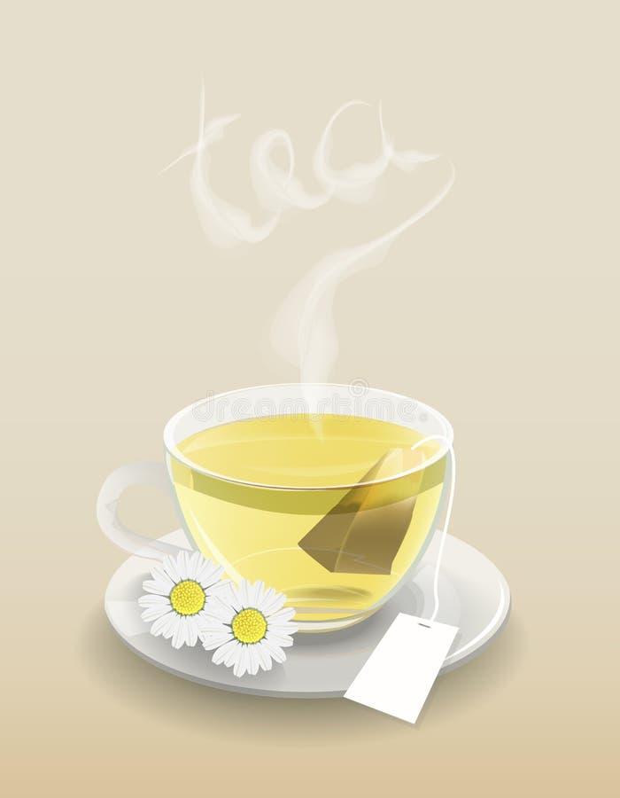 Tazza di tè con la bustina di tè illustrazione di stock