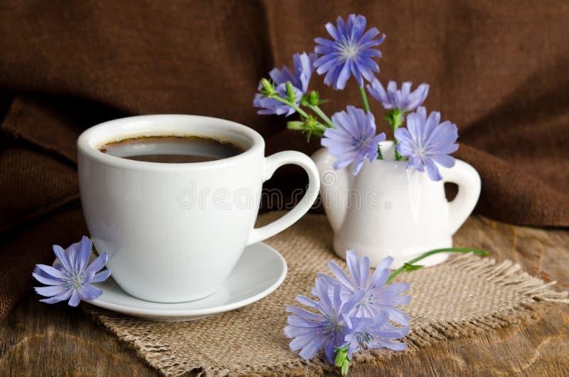 Tazza di tè con la cicoria immagine stock