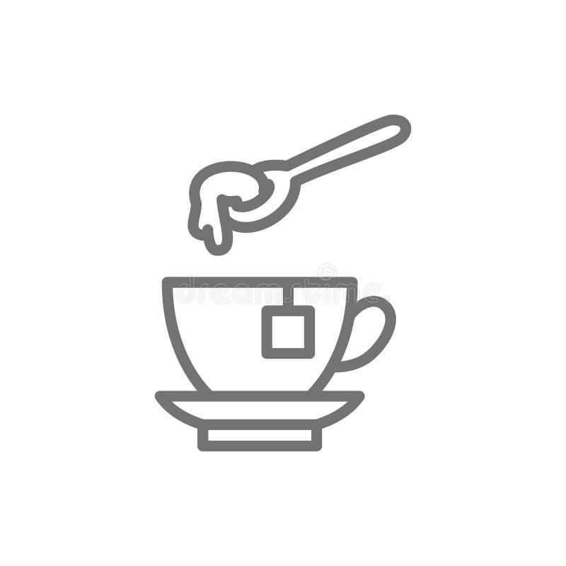 Tazza di tè con la linea icona del cucchiaio del miele royalty illustrazione gratis