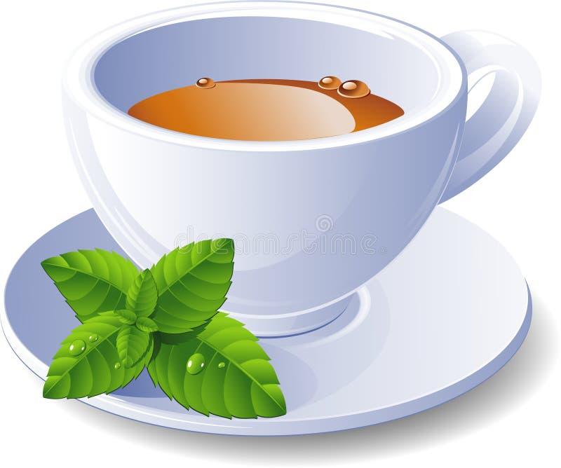 Tazza di tè con la menta illustrazione vettoriale