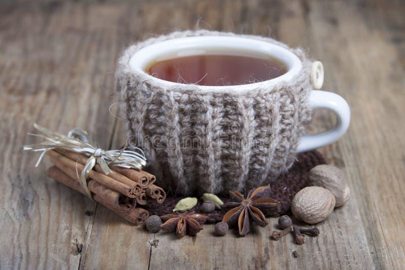 Tazza di tè e delle spezie aromatizzati caldi intorno fotografie stock