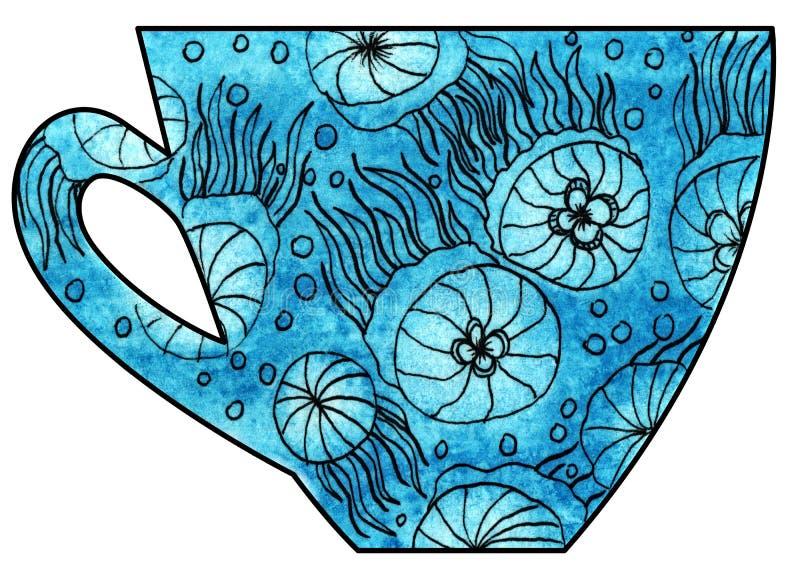 Tazza di tè e di caffè handmade Acquerello, media misti Meduse in mare illustrazione vettoriale