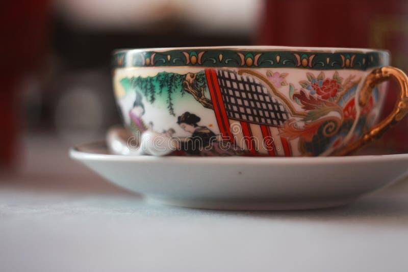 Tazza di tè giapponese di marmo immagine stock