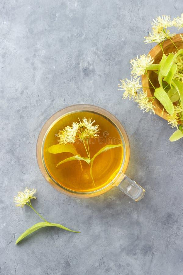 Tazza di tisana fresca con il tiglio di fioritura di tilia, basswood fotografia stock