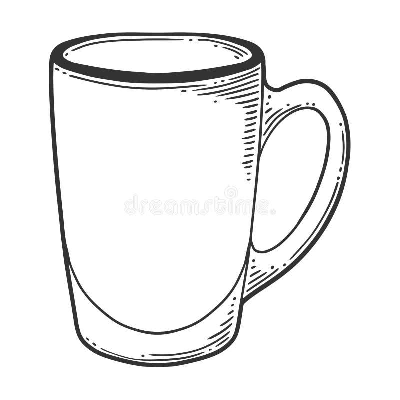Tazza di vetro di caffè o del tè Concetto di vettore nello stile di schizzo e di scarabocchio illustrazione vettoriale