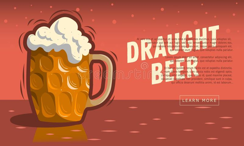 Tazza di vetro della birra alla spina con schiuma royalty illustrazione gratis
