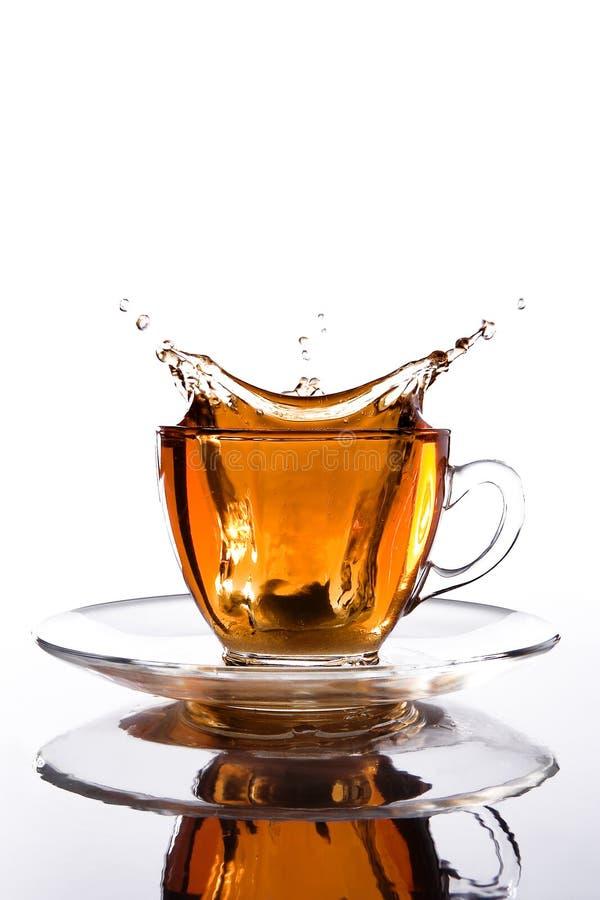 Tazza di vetro di tè con spruzzata fuori fotografia stock