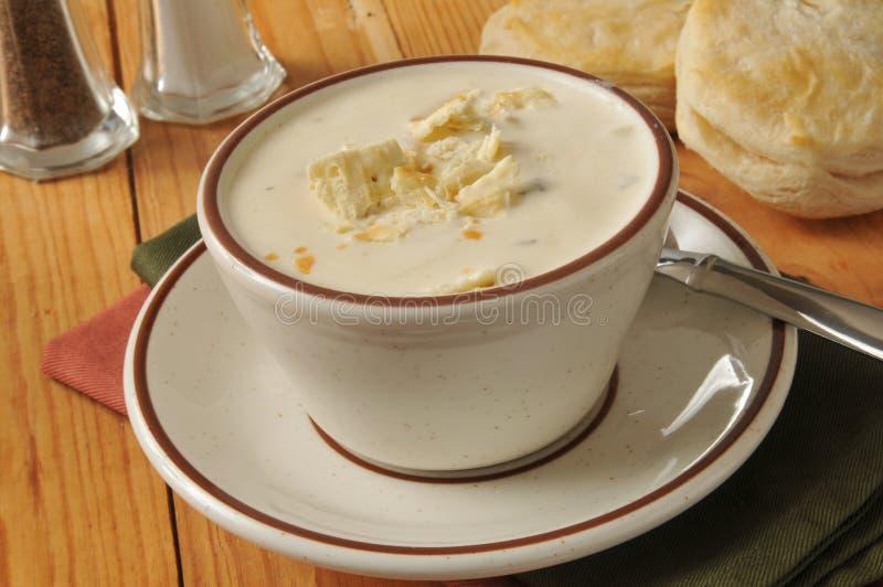 Tazza di zuppa di molluschi e latte fotografie stock libere da diritti