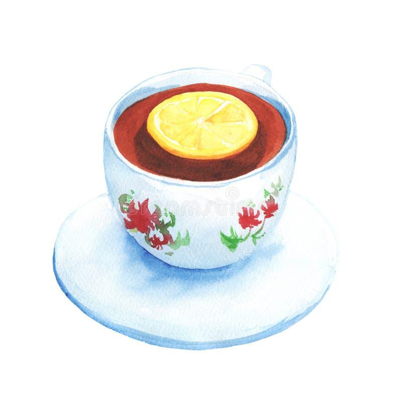 Tazza dipinta acquerella di tè con la fetta del limone Tè nero in tazza bianca con i fiori astratti con il piattino illustrazione vettoriale