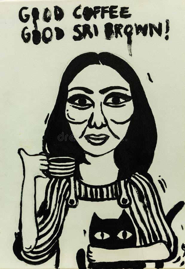 Tazza disegnata a mano di tè fotografie stock libere da diritti