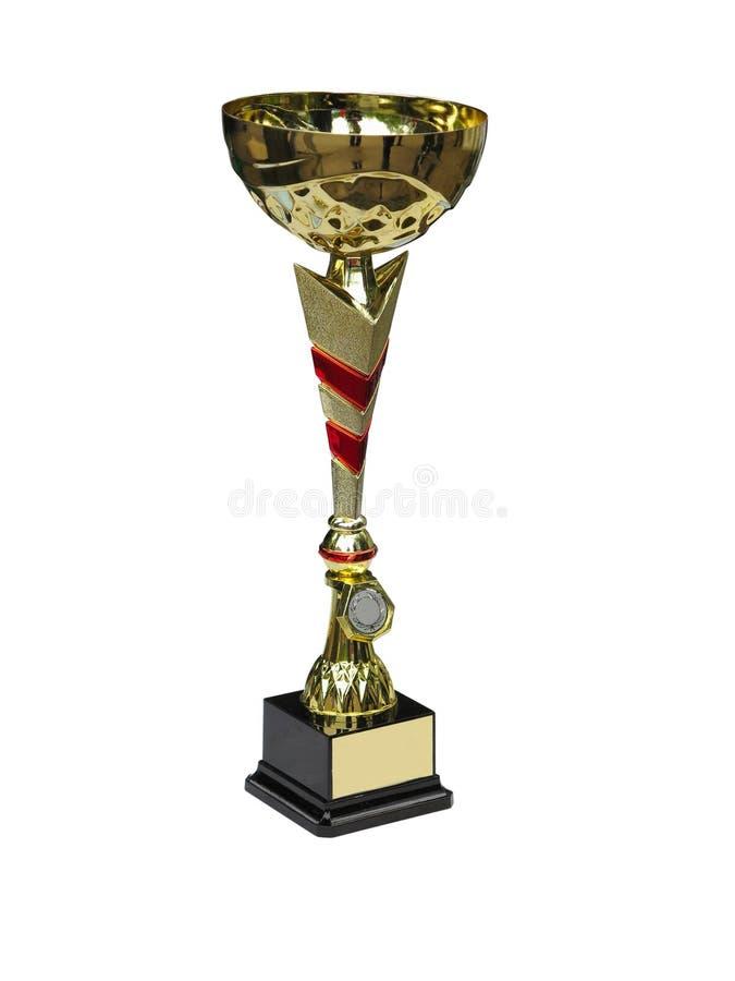 Tazza dorata del trofeo del campione isolata su bianco fotografie stock libere da diritti