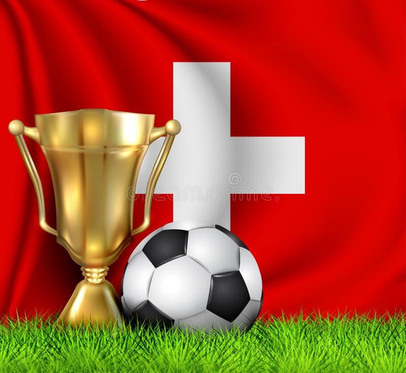 Tazza dorata e pallone da calcio realistici del trofeo del vincitore isolati sulla bandiera nazionale della SVIZZERA La squadra n royalty illustrazione gratis