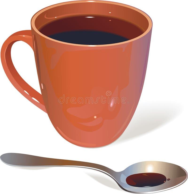 Tazza e cucchiaio illustrazione vettoriale