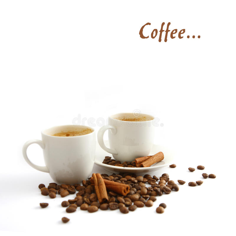 Tazza e granulo di caffè fotografie stock libere da diritti