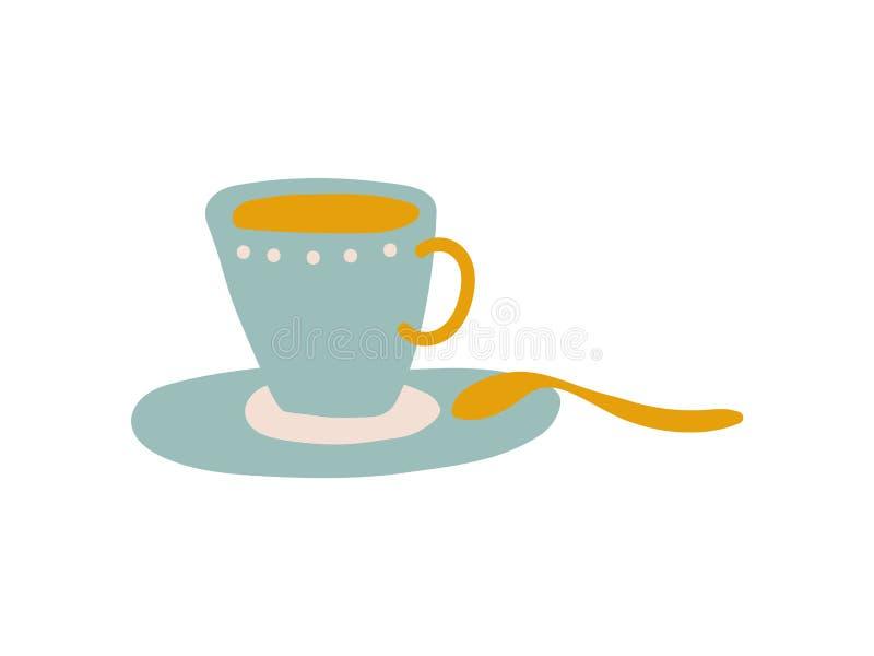 Tazza e piattino ceramici blu-chiaro, illustrazione ceramica sveglia di vettore delle terrecotte illustrazione di stock