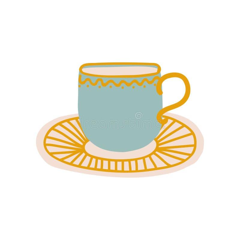 Tazza e piattino ceramici, illustrazione ceramica sveglia di vettore delle pentole delle terrecotte illustrazione vettoriale