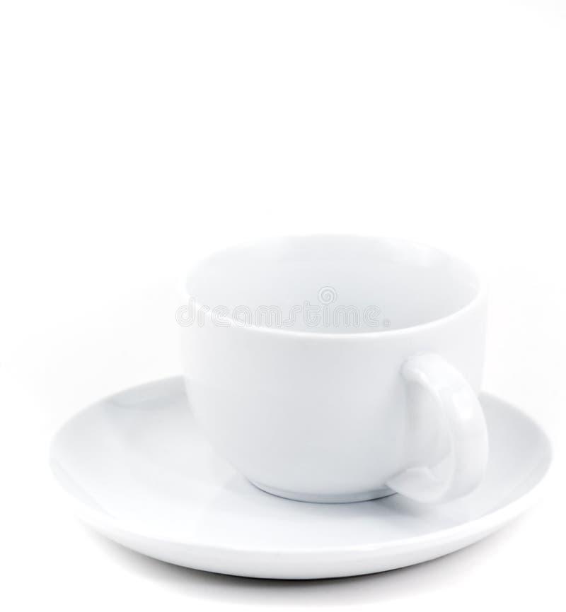 Tazza e piattino di caffè bianco immagine stock