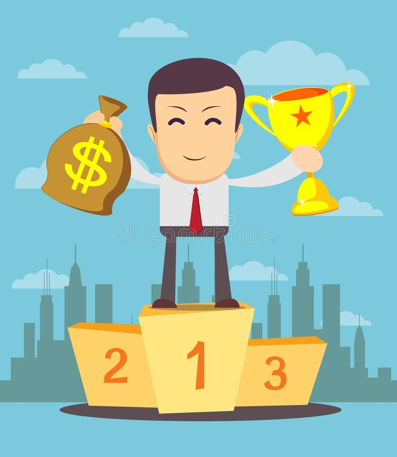 Tazza e soldi del vincitore della tenuta dell'uomo d'affari royalty illustrazione gratis