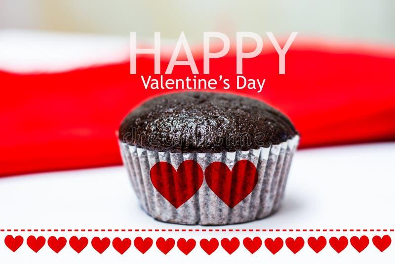 Tazza felice cake2 di babana del choccolate di San Valentino fotografia stock