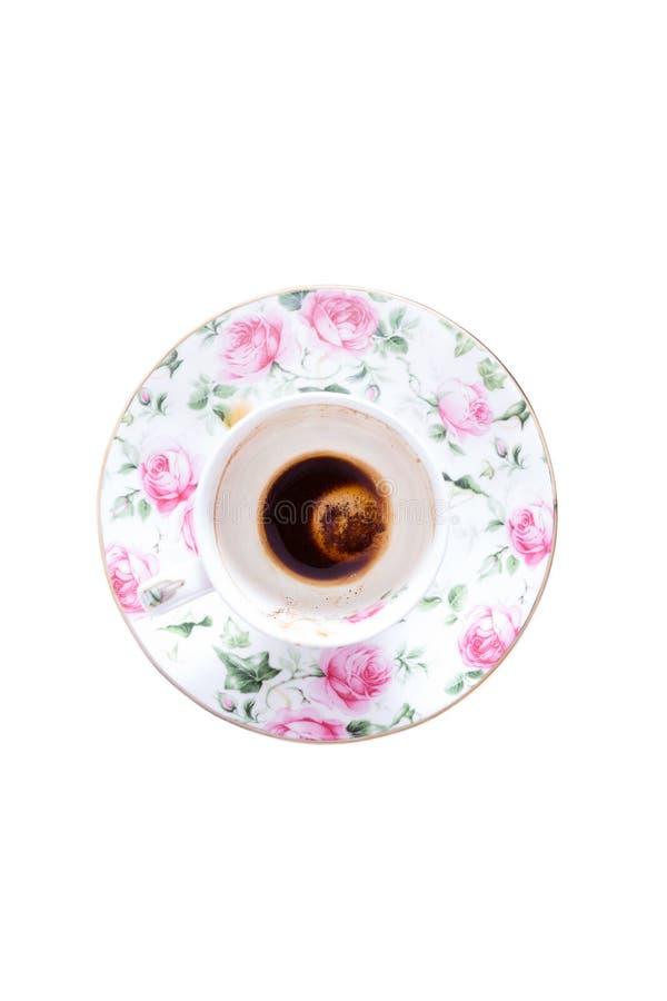Tazza finita di caffè turco osservata da sopra fotografia stock