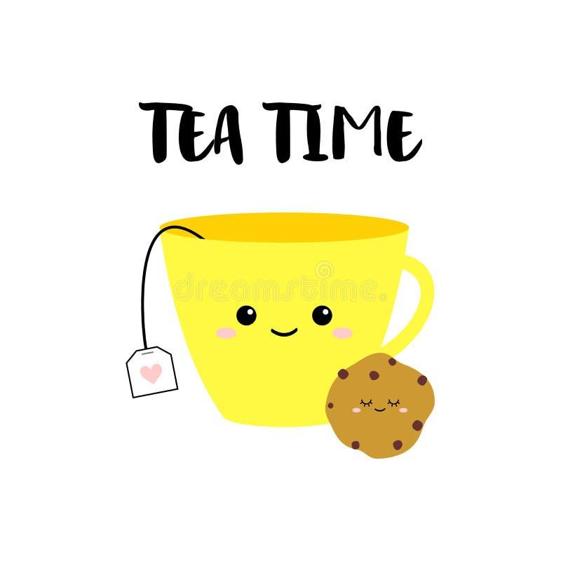 Tazza gialla divertente di tè e del biscotto su fondo bianco Carta di vettore di tempo del tè illustrazione di stock