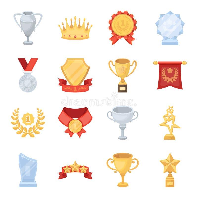 Tazza, medaglia, stendardo ed altri elementi I premi ed i trofei hanno messo le icone della raccolta nelle azione di simbolo di v illustrazione di stock