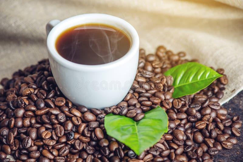 Tazza nera bianca del caffè espresso con un mucchio dei chicchi e delle foglie verdi di caffè in borsa su fondo di tela bianco fotografie stock libere da diritti